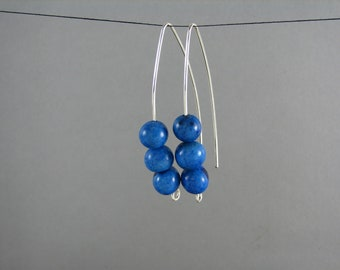 ECO Blue Earrings Sterling Silver and Acai Modern Earwire