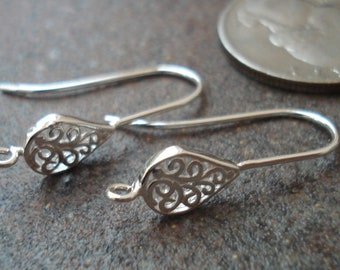 Ear Wires, Sterling Silver Filigree Tear Drops , Pkg of 2