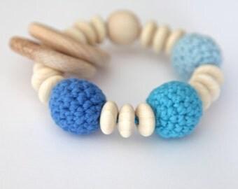 Mommy teething bracelet for nursing moms. Ring teether, baby toy.