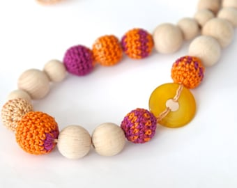 Colors of autumn. Orange, yellow and purple, rose crochet necklace