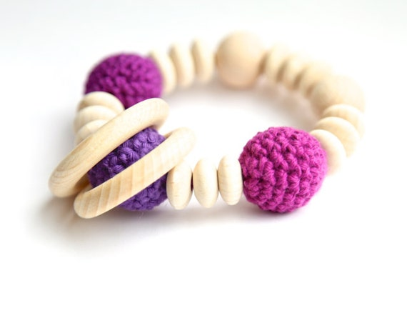 Purple and lilac nursing bracelet. Teething ring rattle toy.