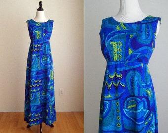 1970's Blue Hawaiian Maxi Dress - Size M