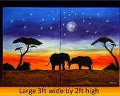 african painting, large 3ft by 2ft  size, beautiful one of a kind, abstract on  canvas, home decor, modern African design