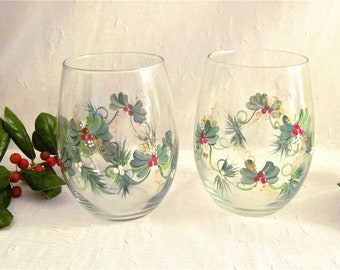 Free shipping Christmas painted pair of stemless eind glasses