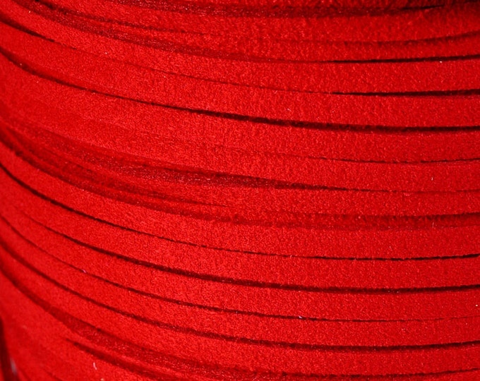 3mm Red faux suede cord (741) - Flat rate shipping