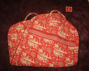 Vintage Red and Cream Asian Pattern Traveling Garment Cover with Front and Inside Pockets