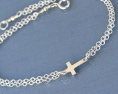 Small Sideways Cross Bracelet, Sterling Silver, Tiny,Petite,Off Centered Cross,Celebrity Inspired,Faith,Religious