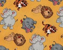 Jungle Jam by Blank Quilting, Jungle Animals, Lion Fabric,Elephant Fabric, Tiger Fabric, 1 yard fabric