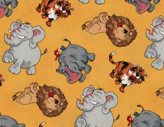 Jungle Jam by Blank Quilting, Jungle Animals, Lion Fabric,Elephant Fabric, Tiger Fabric, 1 yard fabric