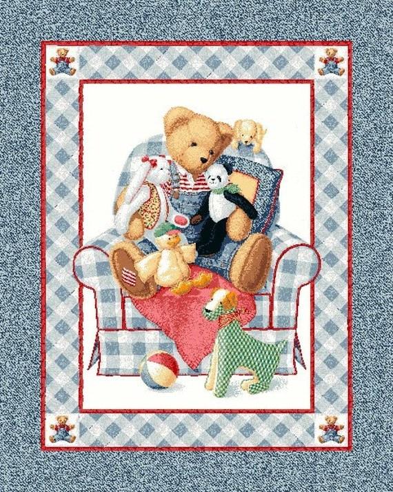 Bjt Fabric Blue Jean Teddy Bear Baby Panel Balloon Fabric
