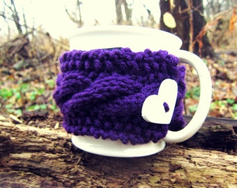 Heart Cup Cozy Purple Mug Warmer Cable Knit Coffee Accessory Crochet Cups Plum Cosy Handmade Gifts Valentines Day Idea Sweater for Mugs Etsy