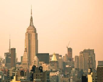 Manhattan skyline photo, New York City Empire State Building at sunset, urban decor, skyscrapers, cityscape
