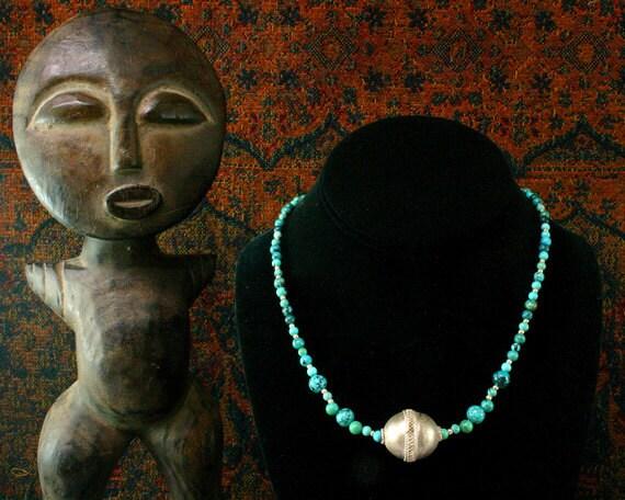 Turquoise Necklace, Antique Silver Bead Necklace, Tribal Necklace, Ethnic Jewelry, Antique Silver Pendant, Simple Pendant Necklace