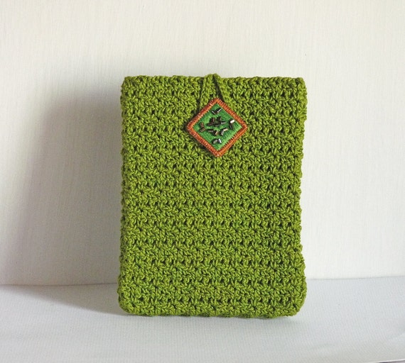 Apple green cotton crochet cell phone/ iphone pouch