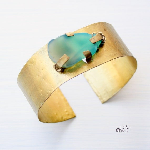 Handcrafted Hand Cut Hammered Shiny Brass Medium Wide Artisan Metalwork Bracelet Cuff with Green Agate Gift for Her by  EV.I.