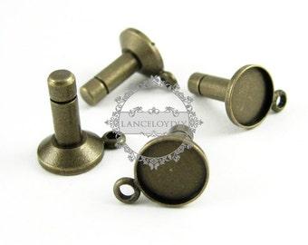 10pcs 8mm bezels fit for 3mm hole base tray settings brass bronze vintage earphone dust plug,jack phone dust plug pin supplies 1502003