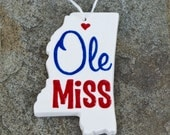 Ole Miss Mississippi Shaped Ornament
