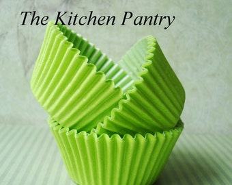 Cupcake Liners - Baking Cups  50 Solid Lime Green Standard