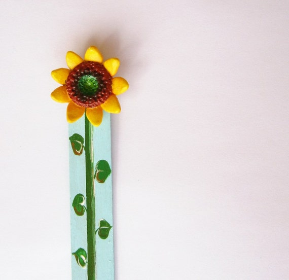 Sunflower Bookmark, Hand painted flower book mark, Gift idea, Sunflower art