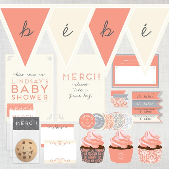 Items similar to printable french baby shower pack for Baby shower decoration packs