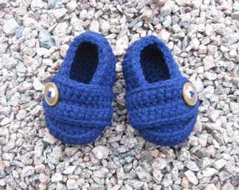 Loafer Booties with Button - Navy Blue - Baby Boy - Any Color/Size - Shoes Slippers - Newborn Shower Gift - Knit Crochet