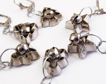 Cookie cutter ornament earrings with silver jingle bells. Gingerbread men, Christmas trees, or Festive star Dangles. holiday jewelry