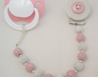 Pink Button Pacifier/Binky clip with matching  Beads (CPPB)