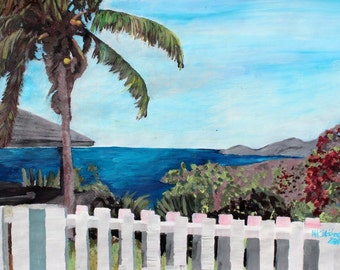 White Fence at English Harbour Antigua West Indies - Limited Edition Fine Art Print