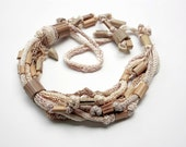 Natural colors knit necklace with bamboo beads OOAK