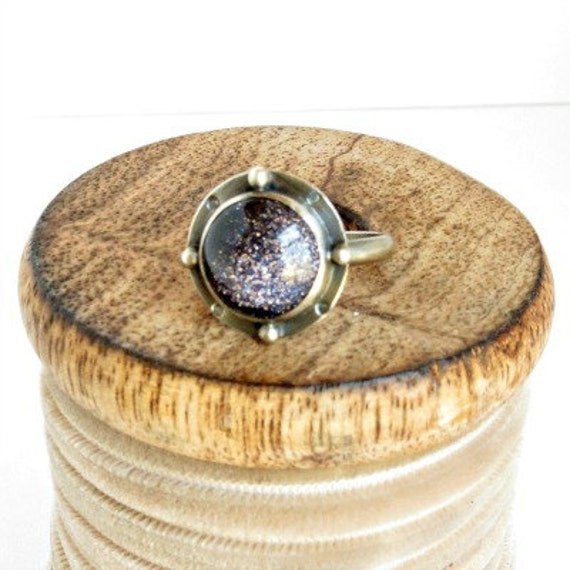 Blue Goldstone Round Sterling Silver Ring