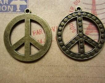 10pcs 28x25mm antique bronze peace symbol charms pendant  C3126