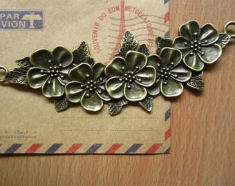3pcs 110x48mm antique bronze flower charms pendant C2849