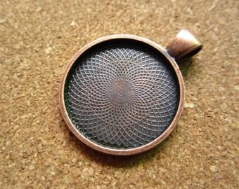 5pcs 25mm antique copper cabochon pendant settings D262