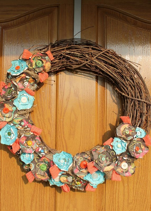 Coral And Turquoise Paper Flower Burlap By Thespeckledegg2011