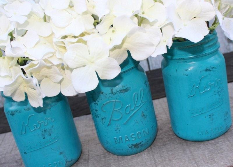 Distressed Mason Jars, Painted Mason Jars, Mason Jar Vases, Teal And Gray, Country Decor, Teal photo - 4