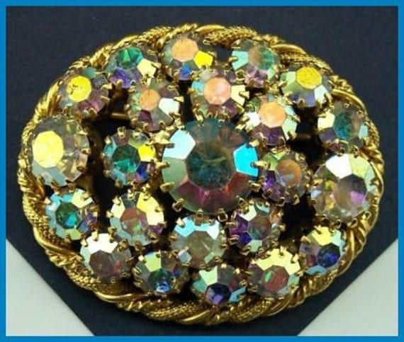 "Vintage Brooch Pin Aurora Borealis Rhinestone Fancy Braided Gold Metal Oval Shape 2"" EX"