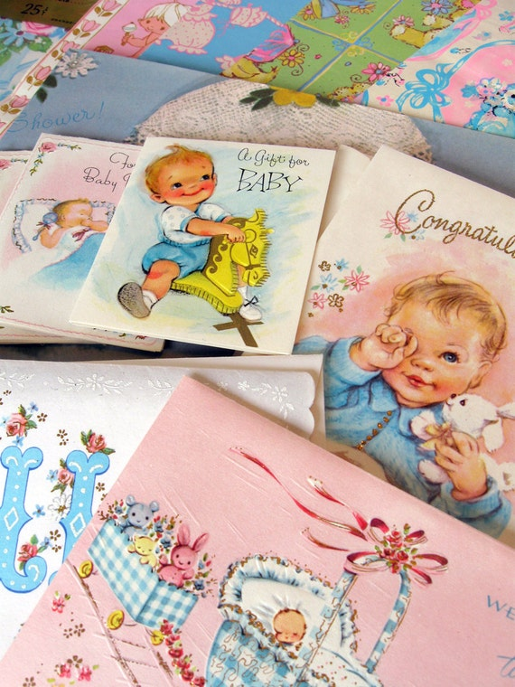 Vintage Baby Shower/ New Baby Unused Cards and Wrapping Paper Lot