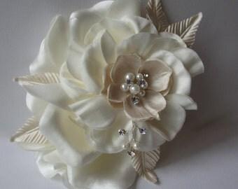 Bridal Hair Clip ~ PEACHES and CREAM, Floral Hair Clip, Bridal Hair Accessories, Veils, Swarovski Pearl and Crystal Embellished