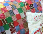 Vintage Groovy Quilted Throw made from Polyester Pants and 1960s fashions Lap Blanket Nursery Crib Size