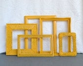 Marigold Yellow Painted Frames Set of 5 - Upcycled frames.. great for Gallery Wall or Bedroom Mustard Yellow Grey Gray decor