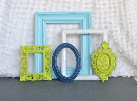 Lime Green Aqua Blue White Frames... Beach Cottage Coastal Home Decor Upcycled wall modern open gallery wall