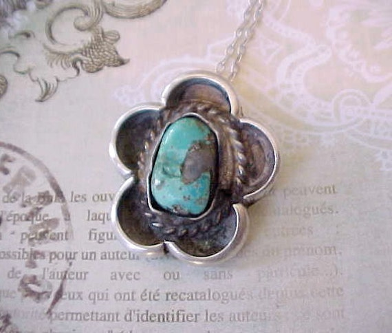 Reserved:  Pretty Vintage Native American Sterling Silver Necklace with Pendant Set With Turquoise