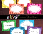 Rainbow Colors - EDITABLE Printable Labels / Favor Tags / Gift Tags / Food Buffet Labels by nahhan73 (SF-015)