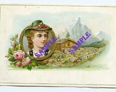 Digital Download-Vintage Tyrolean Girl  in the Alps card