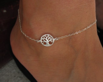 Tree of life anklet bracelet on sterling silver chain