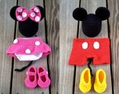 Instant Download - PDF Both Crochet Mouse Outfit Photo Prop Set - 3 Patterns in 1 - 0 to 18 Months - Photography Prop