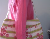 Buttercup Bag Purse - Pleated Purse - Pink Green White - Floral