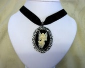 Gothic necklace black cameo Angel of Mercy Velvet Choker adjustable steampunk Victorian or Renaissance goth womens jewelry necklace