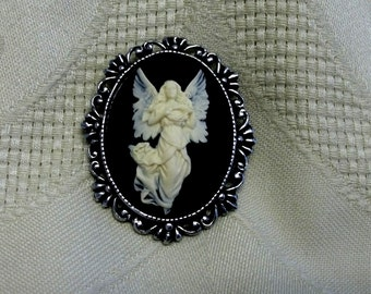 Angel of Mercy cameo pin brooch antique pewter vintage style Steampunk  Victorian jewelry picture celestial