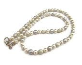 Necklace, Beaded with Freshwater Pearls in Sage and Grey, For Her